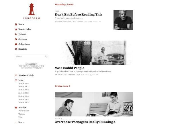 longform website