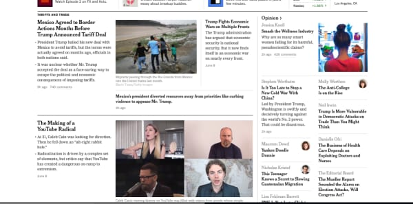 nyt home page