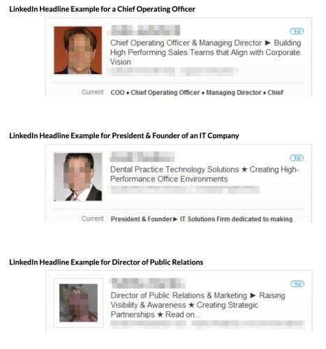 LinkedIn good headline examples