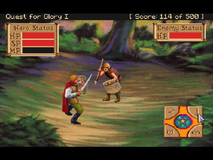 Quest for Glory I brigand fight
