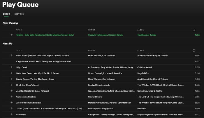 Spotify Queue menu
