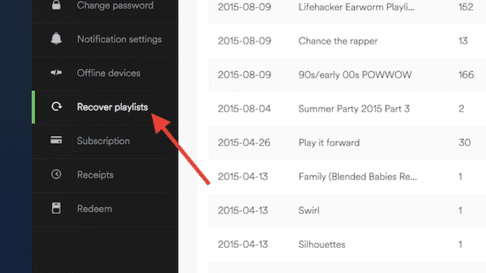 Spotify website recover deleted playlist