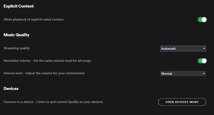Spotify Settings menu Music Quality