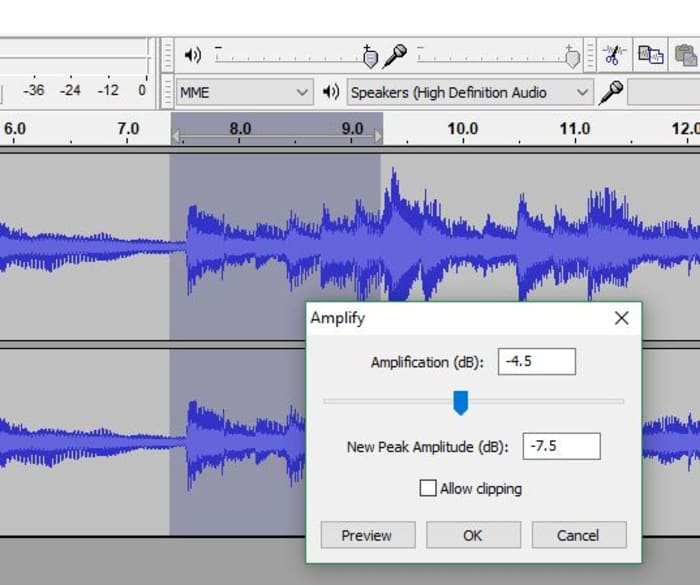 Audacity Amplify tool window