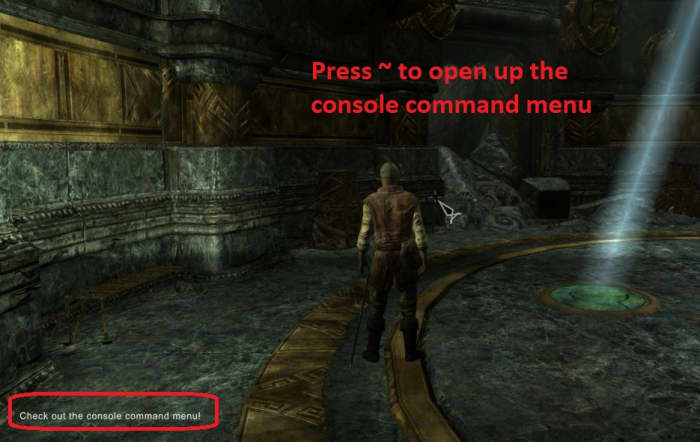 Skyrim console command window