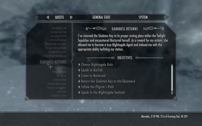 Skyrim quest log