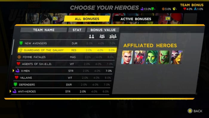 Marvel Ultimate Alliance 3 team bonuses