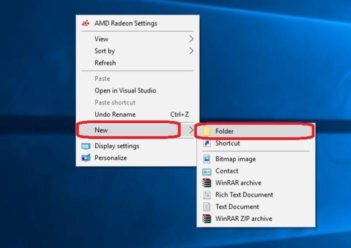 Create new folder Windows 10