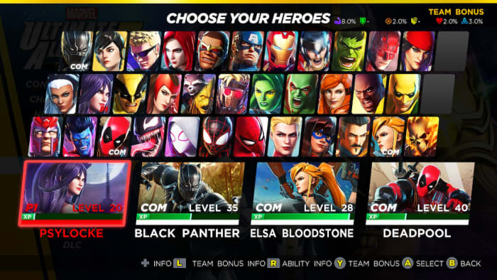 Marvel Ultimate Alliance 3 hero select
