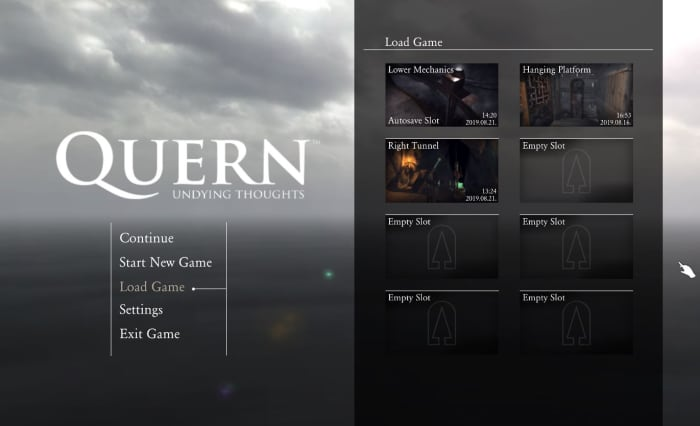 Quern Undying Thoughts save game menu
