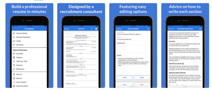 CV Engineer mobile app for resumes