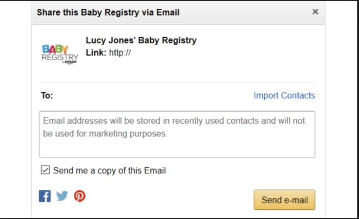 share registry link on Amazon