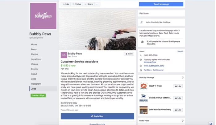 facebook find a job