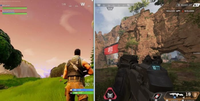 Fortnite Apex Legends perspective side by side