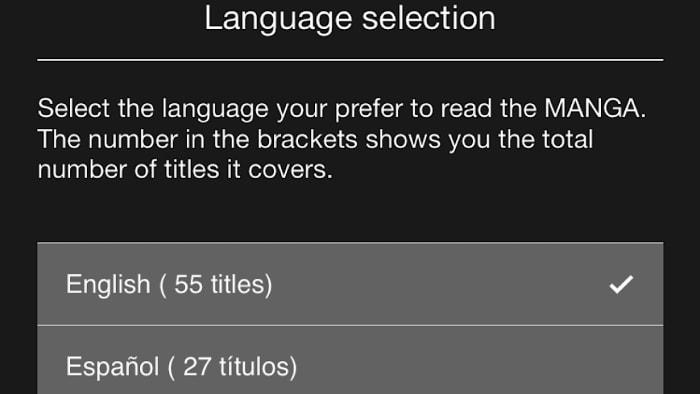 manga plus language selection