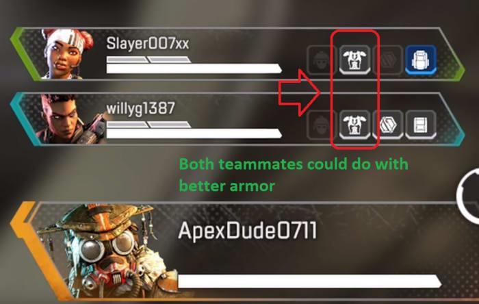 Apex Legends team inventory HUD