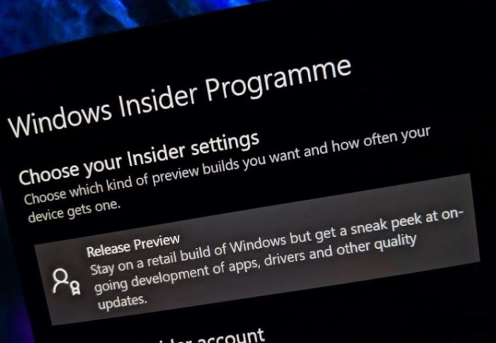 Windows Insider Programme Release Preview