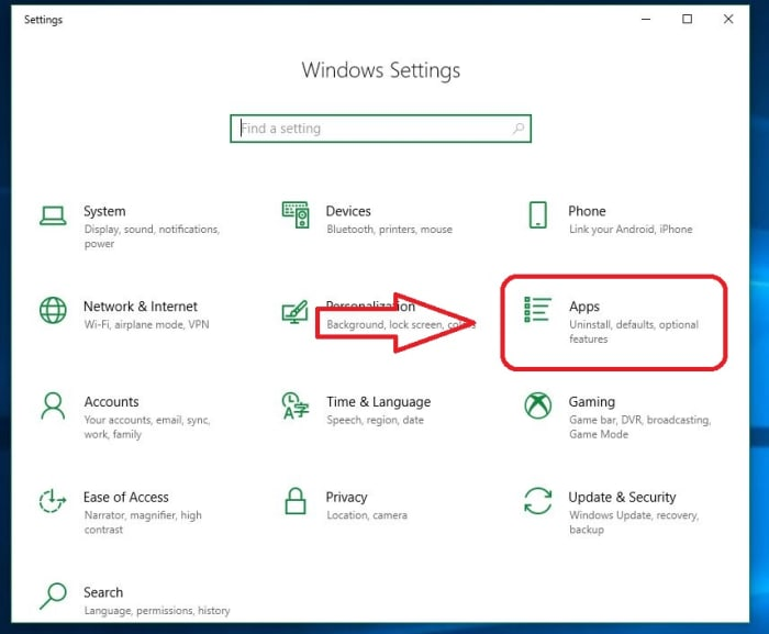 Windows 10 Settings Apps