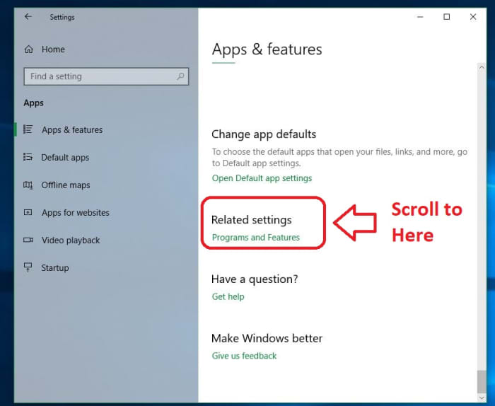 Windows 10 Related Settings Programs and Features