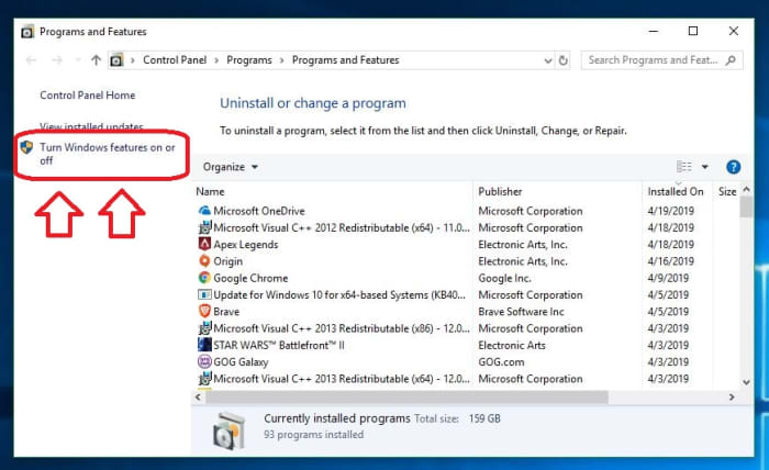 Windows 10 Settings Programs and Features Admin features on or off