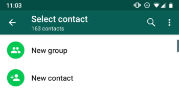 New Contact button, WhatsApp Android