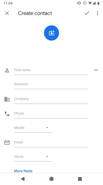 New Contact on Android