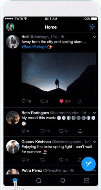 Twitter's new black dark mode