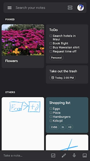Google Keep's new dark mode