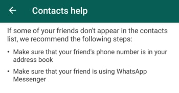 WhatsApp Contacts Help