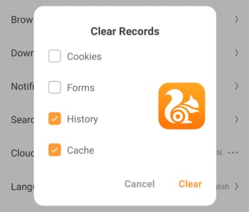Clear browser history on UC Browser