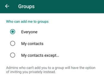 New WhatsApp group privacy settings