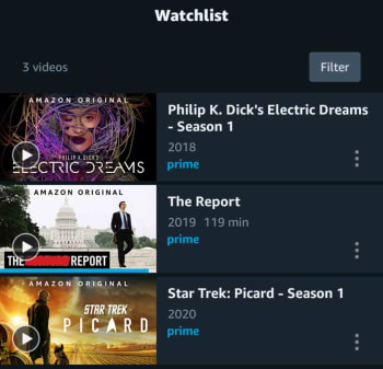 Amazon Prime video watchlist