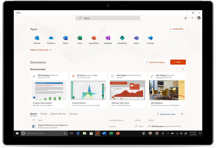 New Microsoft Office app screenshot