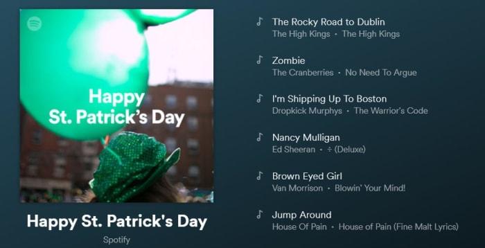 Spotify st patricks day playlist
