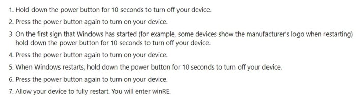 instructions for winre