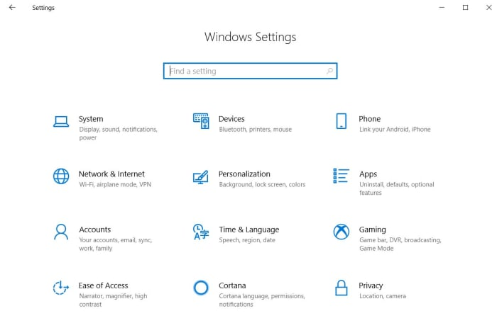 The Windows 10 Settings menu