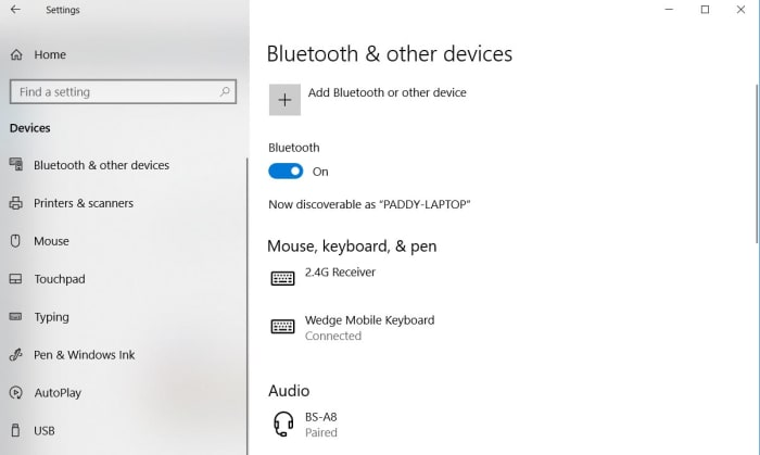 The bluetooth menu on Windows 10