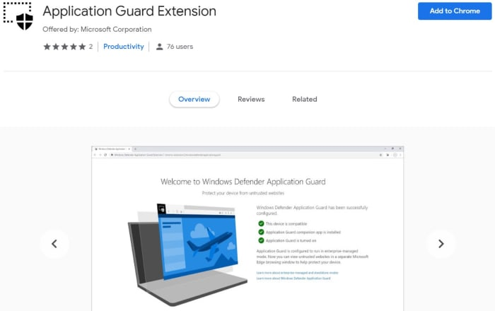 Application Guard Extension Google Chrome