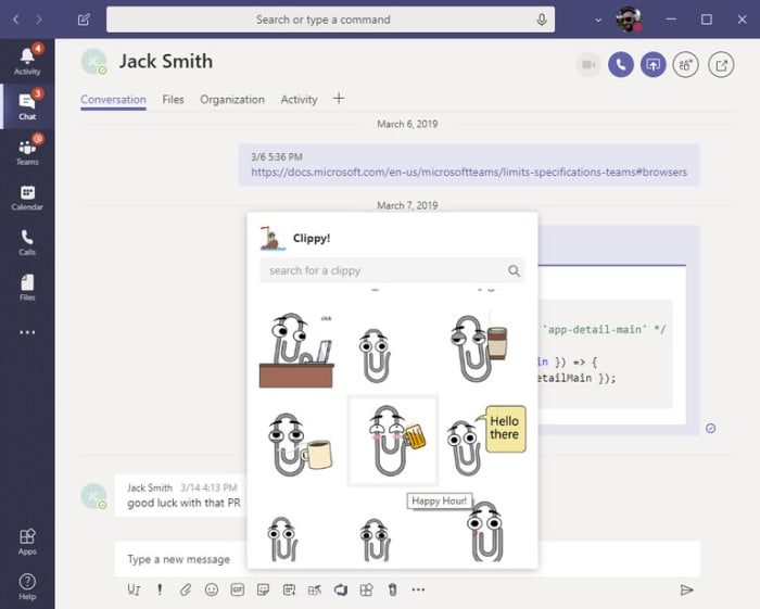 A screenshot of Clippy on Microsoft Teams