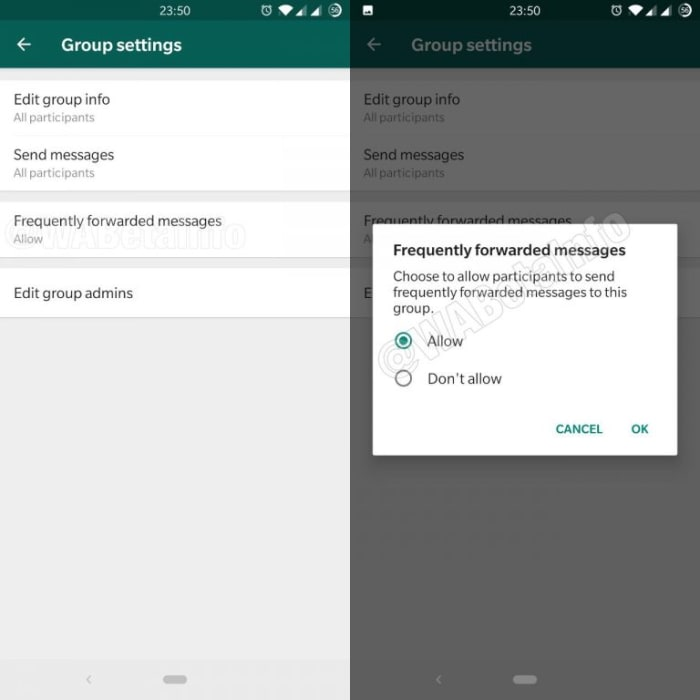 New Fake news block controls for WhatsApp groups
