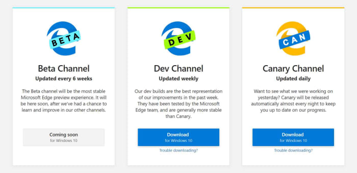 The different Microsoft Edge builds