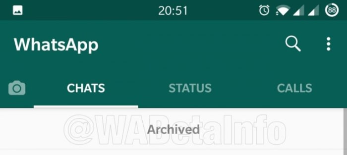 New WhatsApp Archived message tab