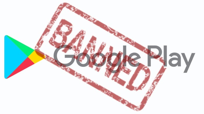 a banned stamp over Google Play Store logo