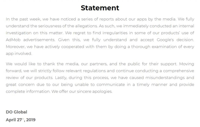 DO Global's statement on the matter