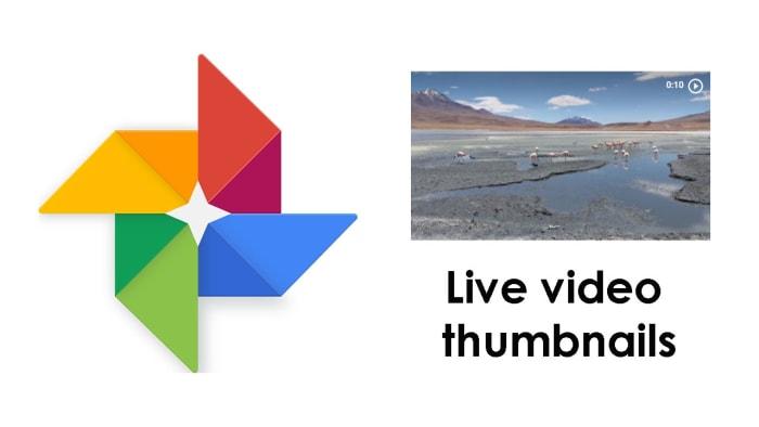 Live thumbnails on Google Photos