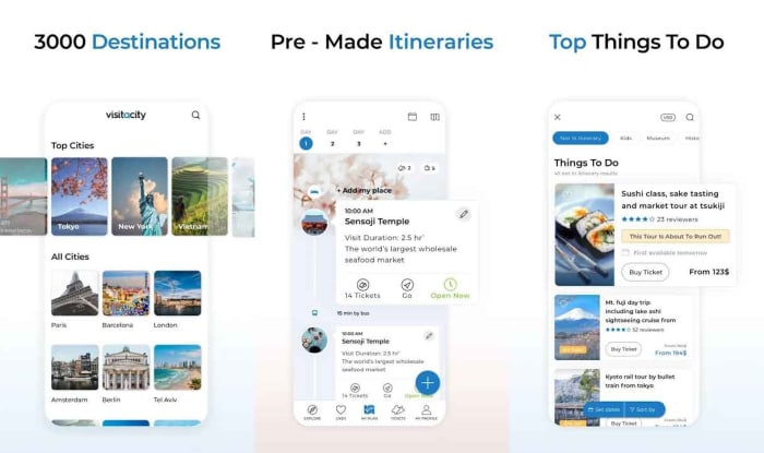 Visit a City travel guide app planning