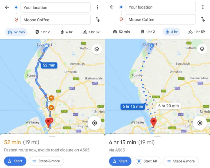 Google Maps AR navigation only works for walking directions