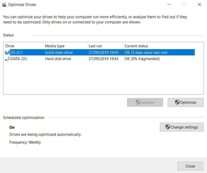 Windows 10 Defrag hard drive