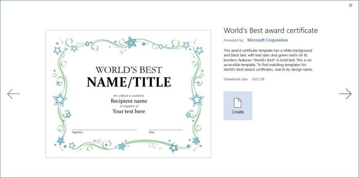 Microsoft Word templates