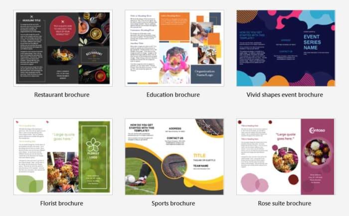 Word template brochures